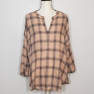LUCKY BRAND multicolored plaid elbows sleeve top